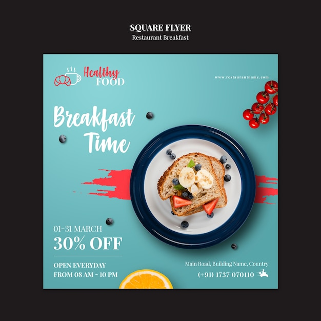 Squared restaurant flyer template Free Psd