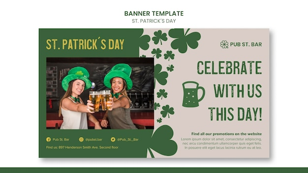 St. patrick's day banner template Free Psd
