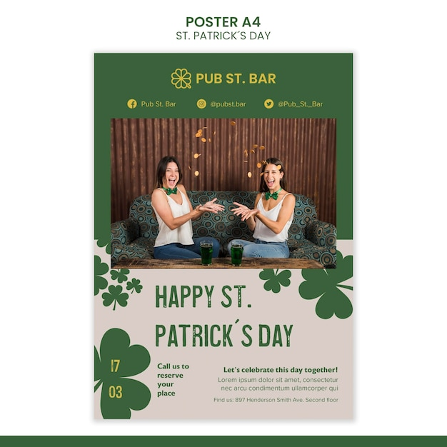 St. patrick's day poster template Free Psd