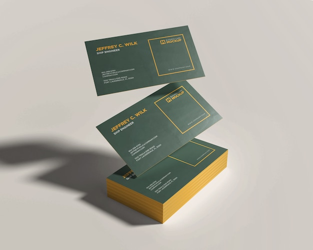 Stack business card mockup with floating card Premium Psd