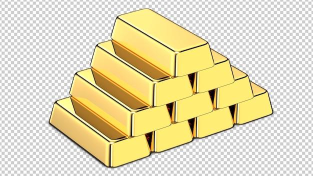 Стек золотых слитков Premium Psd