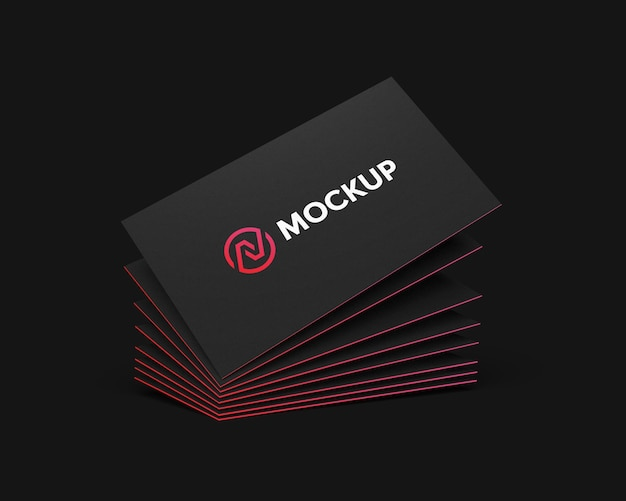 Stacked business card mockup float with gradient color edge Premium Psd