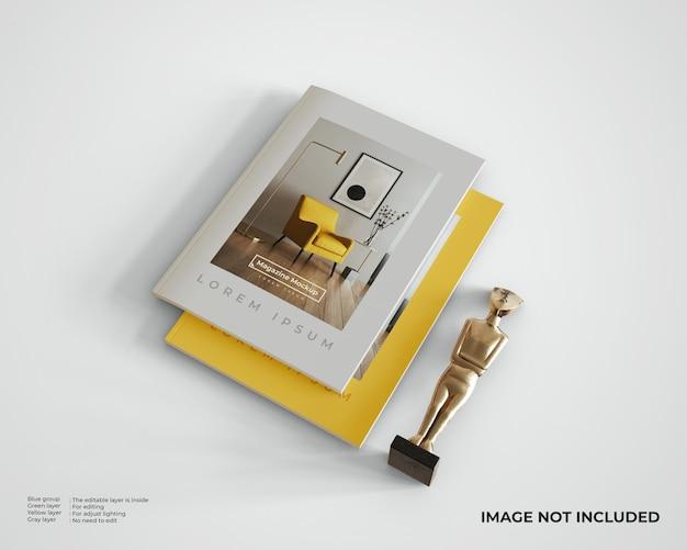 동상이있는 누적 된 잡지 모형, 평면도 프리미엄 PSD 파일
