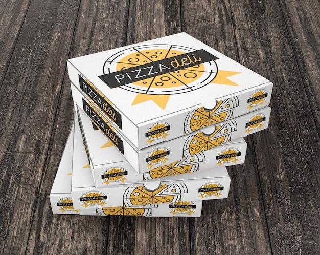 Stacked pizza box mockup Free Psd