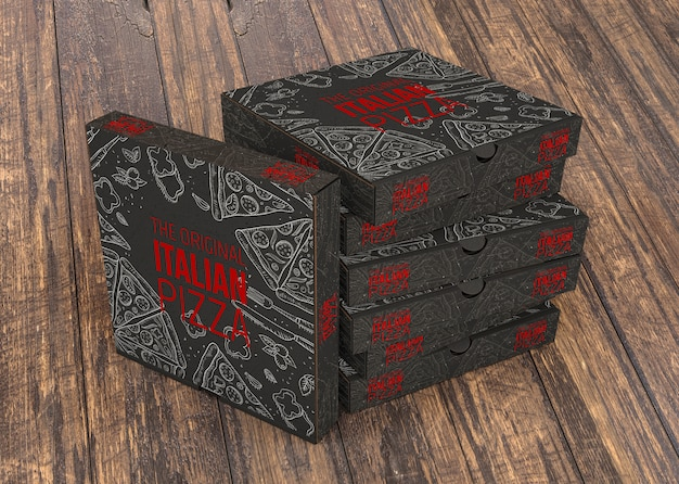 Stacked pizza boxes mockup Free Psd