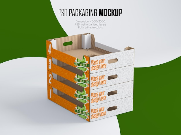 Stacked vegetable boxes mockup