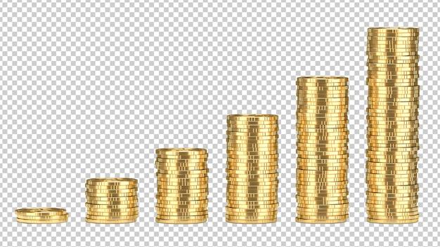 Stacks of golden coins Premium Psd