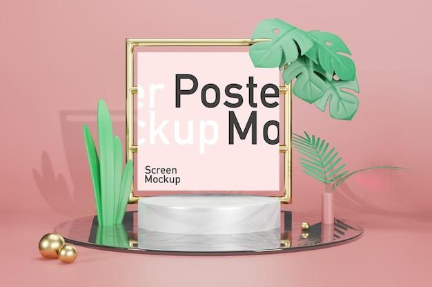 포스터 모형이있는 무대 모형 전시 프리미엄 PSD 파일
