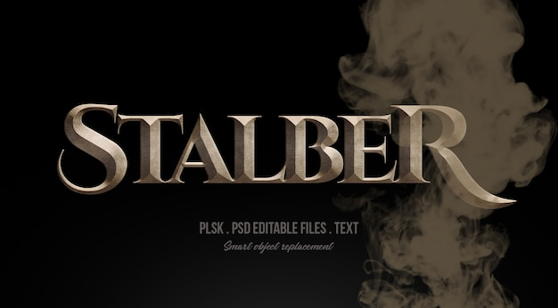 Stalber 3d text style effect mockup with smoke Premium Psd