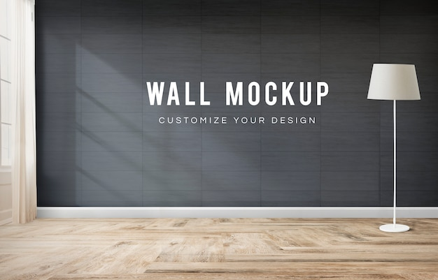 Standing lamp in a gray room Free Psd