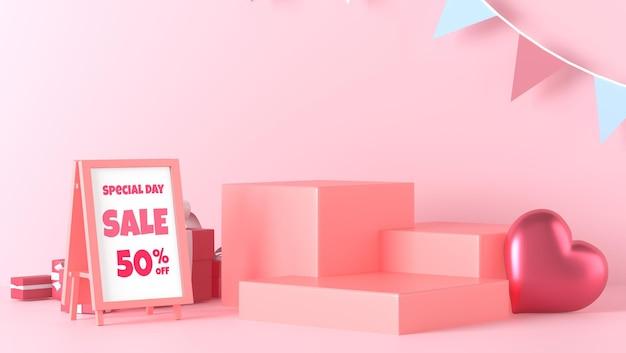 발렌타인 데이 장식 포스터 모형 및 연단 쇼케이스 서 프리미엄 PSD 파일