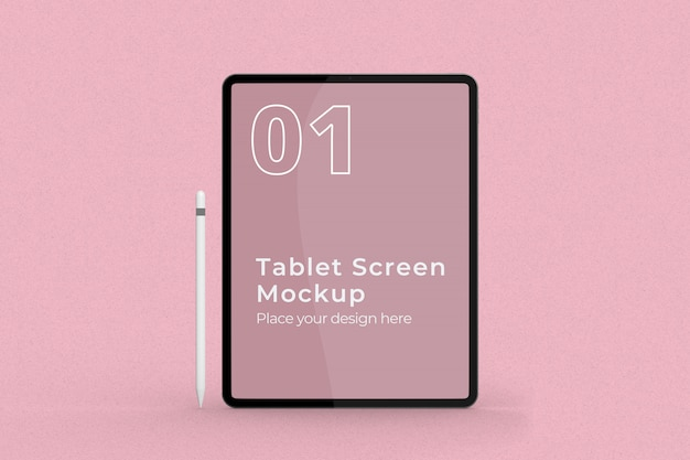 Standing tablet screen mockup with pencil front view Premium Psd