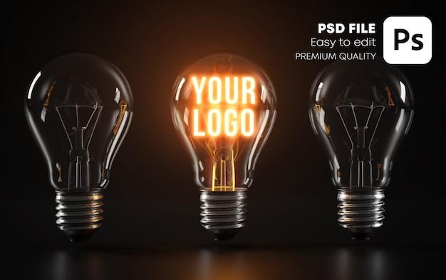 Standout glowing bulb logo mockup Premium Psd