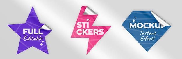 스타 볼트 및 다이아몬드 스티커 모형 무료 PSD 파일