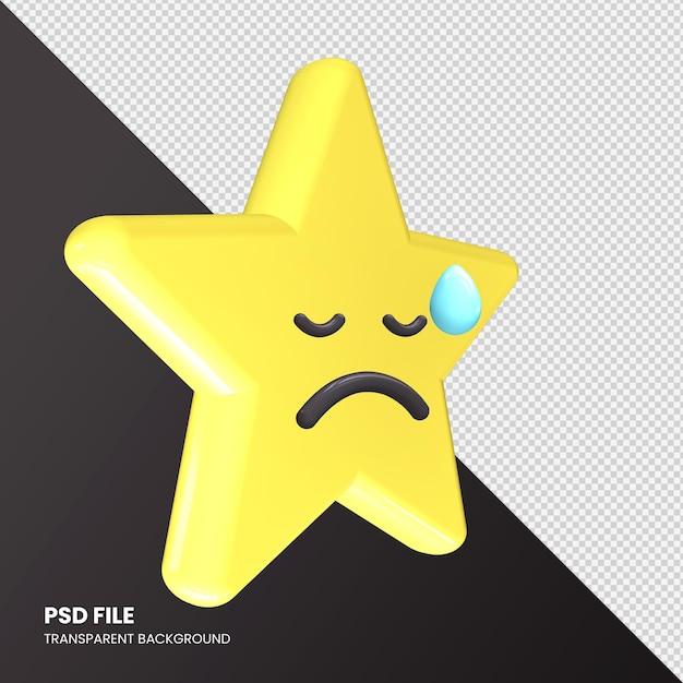 スター絵文字3dレンダリング失望した顔を分離 Premium Psd