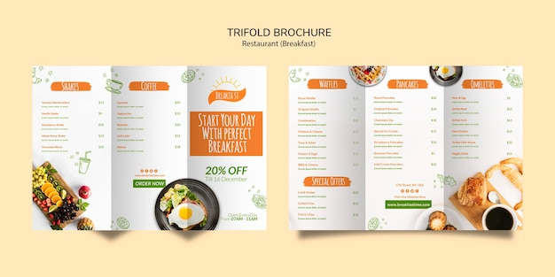 Star your day with breakfast trifold brochure Free Psd