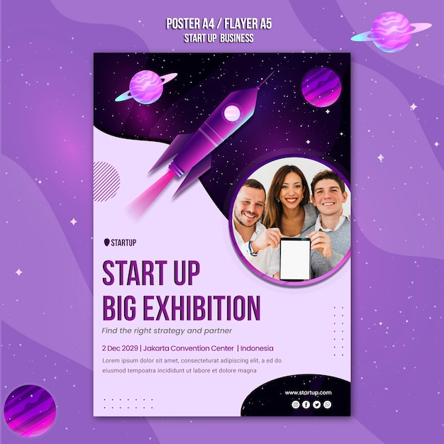 비즈니스 컨셉 포스터 템플릿 시작 무료 PSD 파일