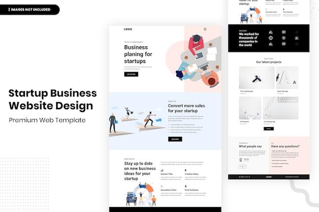 Шаблон дизайна веб-сайта для начинающих компаний Premium Psd