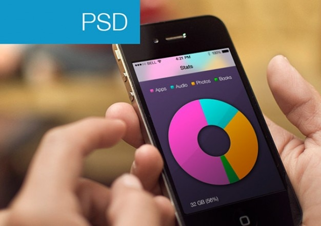 Stat apps with a view and chart Free Psd