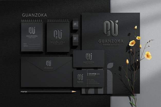 편지지 브랜딩 기업 정체성 상위 뷰 모형 장면 제작자 프리미엄 PSD 파일