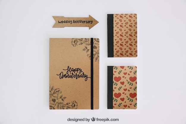 Stationery cardboard concept Free Psd
