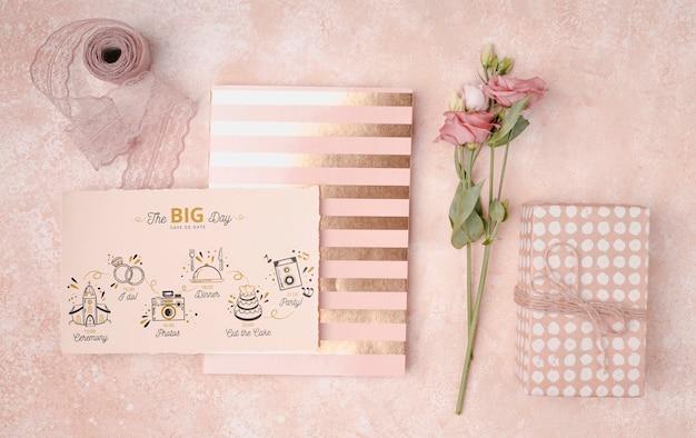 Stationery colorful wedding invitation Free Psd