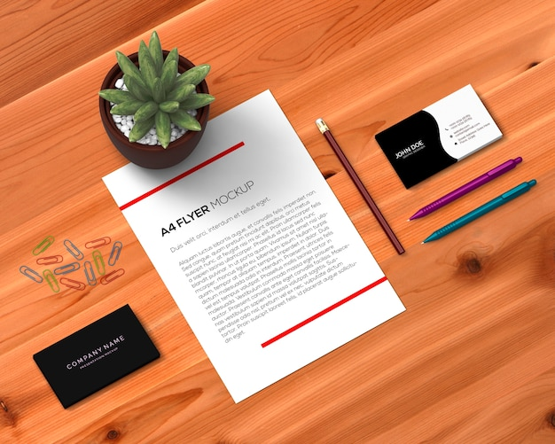 Stationery concept with a4 flyer mockup Free Psd