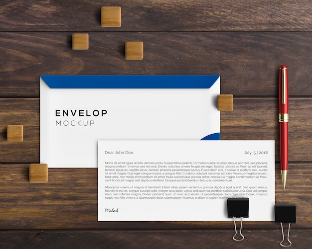 Stationery concept with envelope mockup Free Psd