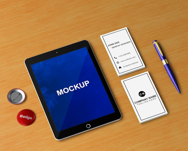Stationery concept with tablet mockup Free Psd
