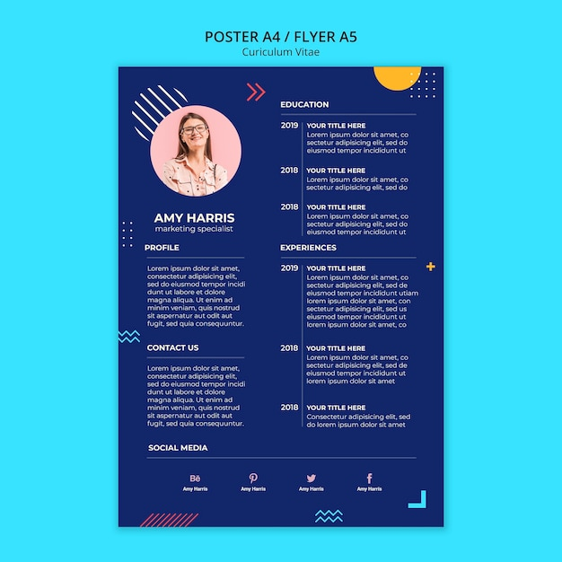 Stationery curriculum vitae of new employee in blue design Free Psd