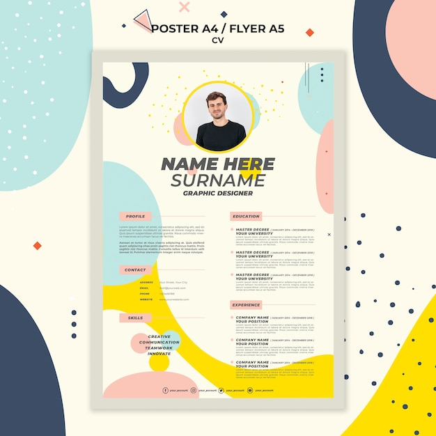Stationery curriculum vitae of new employee Premium Psd