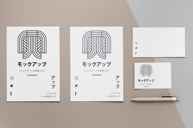 Stationery documents with logo mock-up Free Psd