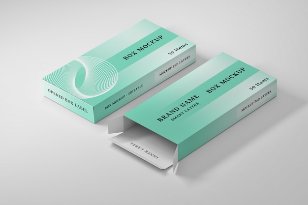 Stationery editable mockup of two rectangle boxes Premium Psd