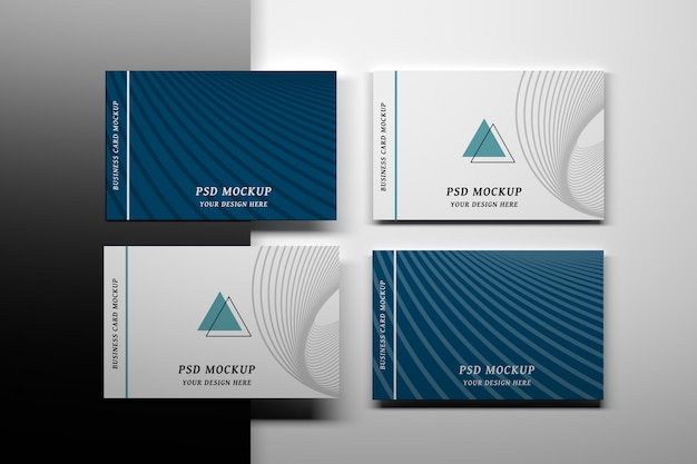 Stationery editable psd mockup with four business cards Premium Psd