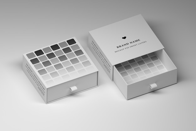 Stationery editable psd mockup with opened and closed white gift boxes Premium Psd