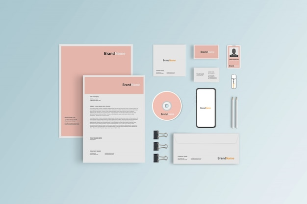 Stationery mockup for corporate branding, top view Premium Psd
