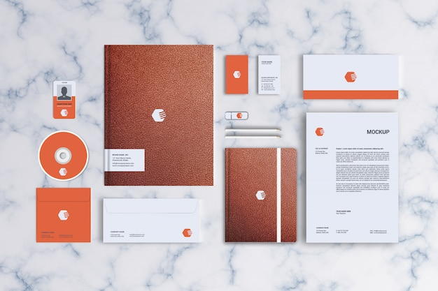Stationery mockup, top view Premium Psd