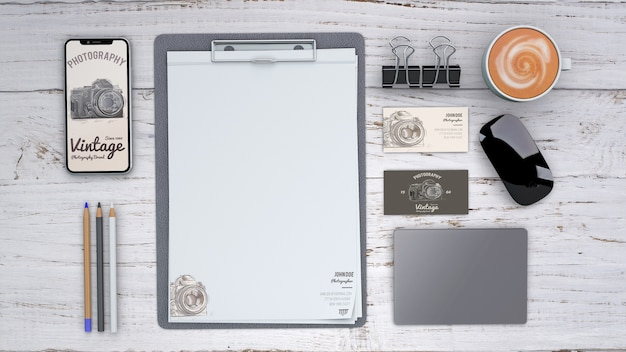 Stationery mockup with photography concept and clipboard Free Psd
