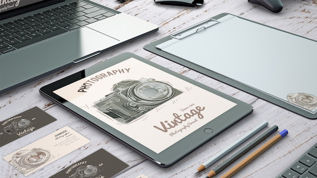Stationery mockup with photography concept Free Psd