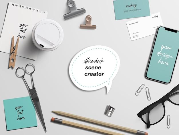 文房具オフィスデスクブランディングアイデンティティモックアップ Premium Psd