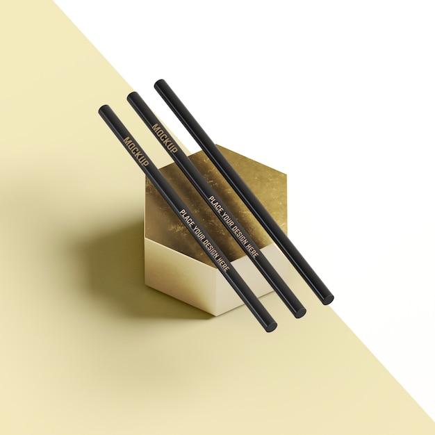 추상적 인 벌집 모양에 편지지 연필 무료 PSD 파일