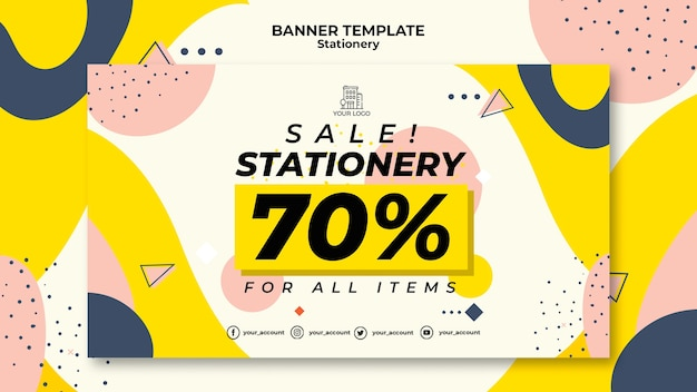 Stationery sales banner web template Free Psd