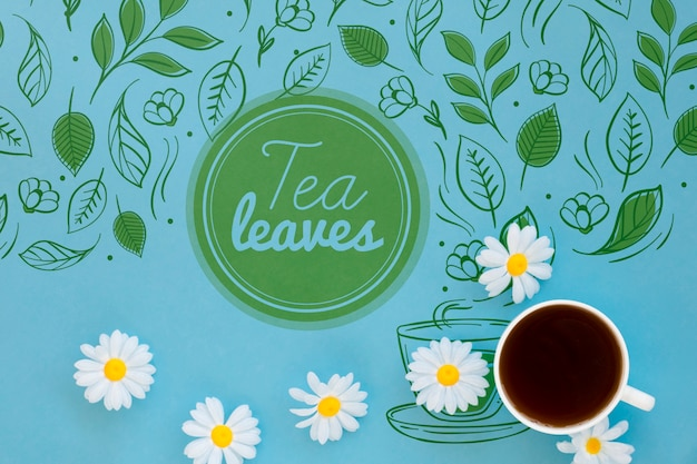 Stationery tea cup with mock-up Free Psd