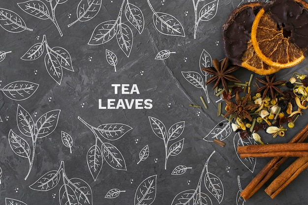 Stationery tea herbs with cinnamon sticks Free Psd
