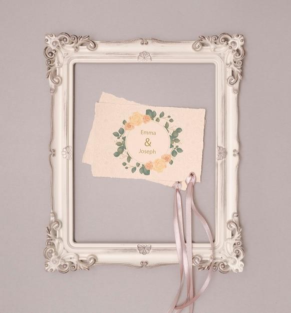 Stationery wedding invitation with frame Free Psd