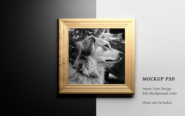 Stationery wooden square frame on black or white background Premium Psd