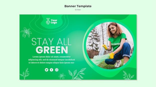 Оставайтесь все зеленые баннер шаблон Бесплатные Psd