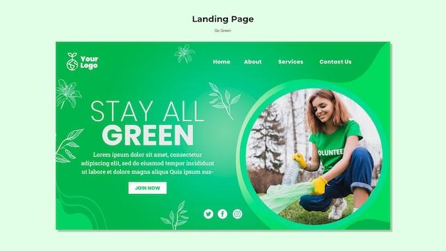 Resta tutto il modello di pagina di destinazione verde Psd Gratuite
