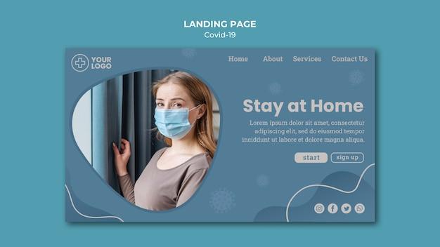 Оставайтесь дома, посадочная страница концепции коронавируса Бесплатные Psd