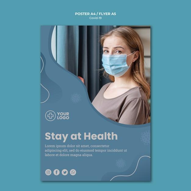 Пребывание дома коронавирусный концептуальный плакат Бесплатные Psd